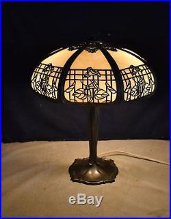 Gorgeous Best! Large Antique Slag Glass Panel Table Lamp Ornate Design