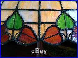 Gorham arts crafts mission leaded slag glass lamp tiffany studios handel era