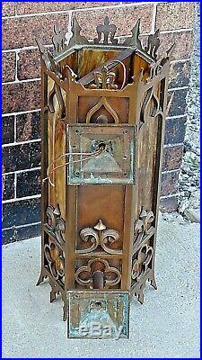 Gothic Bronze Church Slag Art Glass antique Wall Sconce light fixture lamp