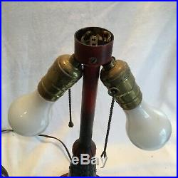 Great Antique 1920s Stained Slag Glass 8 Bent Panel Lamp Miller B & H