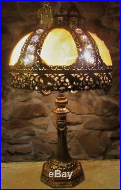 HUGE Antique 5 Arm Slag Glass Lamp with Jeweled Shade, Ornate Filigree, Art Deco
