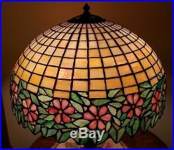 HUGE Antique Arts & Crafts Handel / Unique Leaded Slag Stained Glass Table Lamp