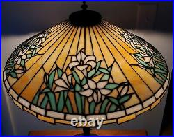 HUGE Lamb Brothers Floral Leaded Slag Glass Lamp Handel Pairpoint Duffner
