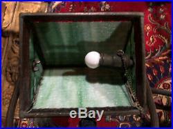 Handel Antique Arts Crafts Slag Glass Leaded Bradley Hubbard Era Desk Lamp NR