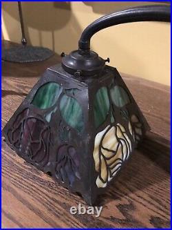 Handel Antique Arts Crafts Slag Glass Leaded Bradley Hubbard Era Desk Piano Lamp
