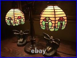 Handel Arts Crafts Mission Antique Slag Glass Leaded Lamp Bradley Hubbard Era