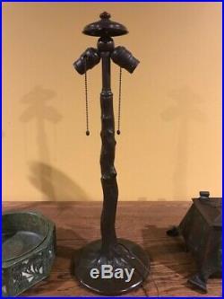 Handel Arts Crafts Mission Leaded Slag Glass Antique Bradley Hubbard Era Lamp NR