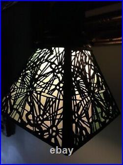 Handel Arts Crafts Slag Glass Mission Antique Floor Lamp Tiffany Studios Era