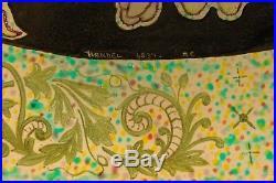 Handel Reverse Painted Thistle Lamp Leaded Slag Glass Tiffany Pairpoint Era