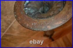 Handel Signed Oak Tree Bronze Base Slag Glass Cabin Lake Scenic Shade Lamp Table