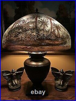 Handel Slag Glass Arts Crafts Antique Leaded Bradley Hubbard Era Table Lamp Base