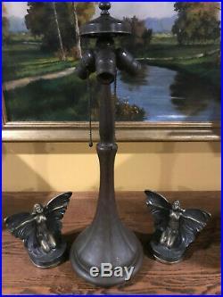 Handel Slag Glass Arts Crafts Antique Vintage Bradley Hubbard Era Lamp Base