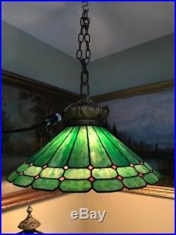 Handel slag glass leaded arts crafts mission Bradley hubbard era hanging lamp