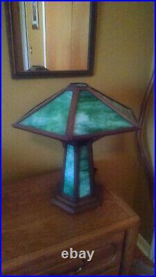 Handmade Mission Style Slag Glass Table Lamp Arts & Crafts Decor