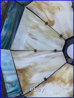 Hanging Metal Overlay Slag Glass Lamp
