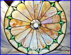 Huge 1930s Art Deco Slumped Caramel Slag Glass Hanging Lamp 23 x 14 8370
