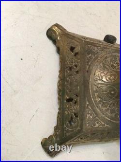 Huge Antique Bradley & Hubbard Lamp Base For Slag Panel Glass Shade Brass & Iron