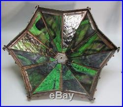Huge & Rare 30 BRADLEY & HUBBARD Arts & Crafts Slag Glass Lamp c. 1920 antique