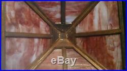 Incredible Large Antique Arts / Crafts Mission Oak Slag Glass Lamp C. 1910