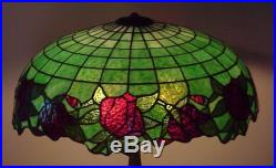 J. A. Whaley Leaded Slag Stained Glass Handel Duffner Tiffany Era Lamp