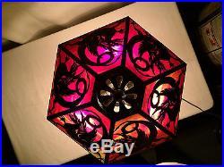 J a whaley dragon arts crafts leaded slag glass antique Bradley hubbard era lamp