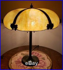 John Morgan Arts & Crafts Leaded Slag Stained Glass Lamp Handel Duffner Era