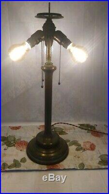 Jumbo UNIQUE ARTS leaded glass lamp Handel Tiffany Arts crafts slag glass era