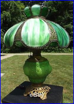 LARGE ANTIQUE LAMP solid brass GREEN SLAG oil lamp conversion 1800's INCREDIBLE