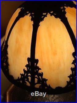 LARGE Art Nouveau Arts Crafts Slag Glass Panel Lamp 19d 24 H Pick Up Only NJ