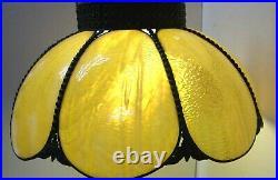 LEADED AMBER SLAG GLASS TULIP CEILING LIGHT LAMP FIXTURE 18 DIAM 11 HI withGLOBE