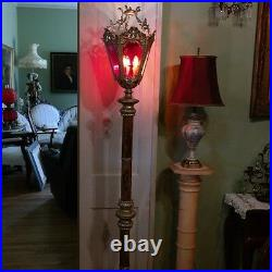 LG Vintage French Empire/Gothic Marble Palace Patio Floor Lamp-Slag Glass Style