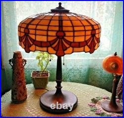 Lamb & Green leaded glass lamp Handel Tiffany arts crafts deco nouveau era slag