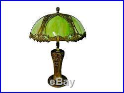 Lamp, Green Slag, Glass Bent Panel, Charles Parker Base, Gorgeous