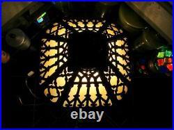 Lamp Light Metal Glass Slag Vintage Art Nouveau Victorian Antique Like Heavy