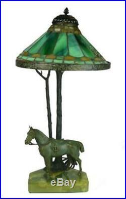 Lamp, Tiffany, Green Molten Slag Glass Art Deco Bronze, 1920's Lovely Vintage