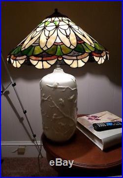 Large 16 Tiffany Style Stained Glass Lamp shade Mosaic Slag RARE Jeweled