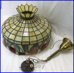 Large 20 Antique Vtg Arts & Crafts Leaded Slag Stained Glass Lamp Shade, Fruit