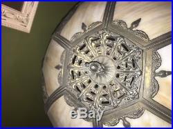 Large Antique ART NOUVEAU ATTR MILLER Slag Glass Lamp Lit Base c. 1910 stained