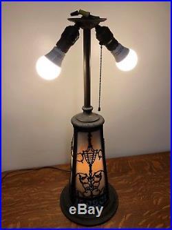 Large Antique ART NOUVEAU MILLER Slag Glass Lamp with Lit Base c. 1910 stained