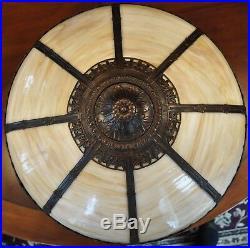 Large Antique Arts & Crafts Slag Glass Lamp Rainaud Handel Style