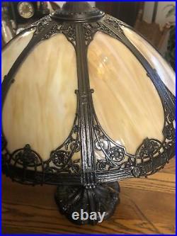 Large Antique Carmel Slag Glass Lamp