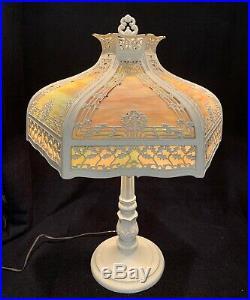 Large Antique Holly & Berries 12 Panel Green & Caramel Slag Glass Lamp