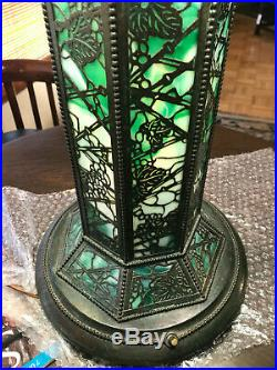 Large Antique Riviere Studios slag glass table lamp