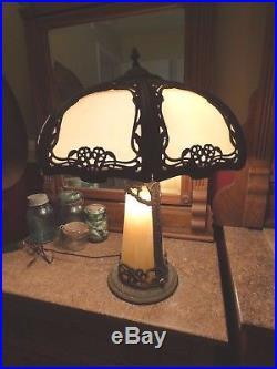 Large Antique Slag Glass Lamp Excellent Condition Rare Desireable
