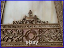 Large Art Nouveau Slag Glass Shade Caramel/Coral tones Table Lamp, READ