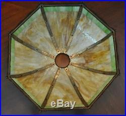 Large Art Nouveau Wilkinson Slag Glass Lamp Bronze Base