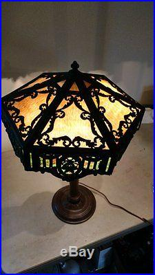 Large Handel Slag Glass Lamp with Extremely Ornate Filigree and Multicolored