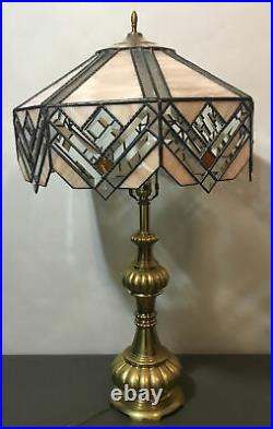 Large Vintage Arts Craft Mission SlagStainedGlass Table LampArt DecoAmber