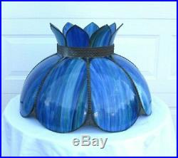 Large Vintage Tiffany Victorian Style Blue Stained Slag Glass Lamp Shade 24