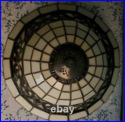 Large Vtg Tiffany Style Stained Slag Glass Lamp Shade Table Ceiling Art Craft
